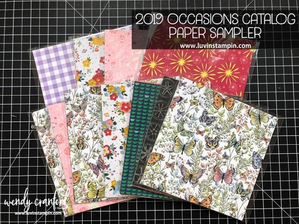 2019 Occasions catalog paper sampler Wendy Cranford www.luvinstampin.com #stampinup #papersampler #crafts #create