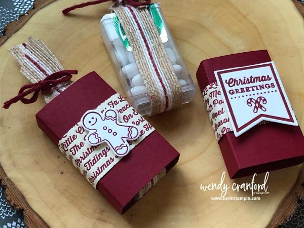 Simple handmade stocking stuffer tic tac holders Wendy Cranford www.luvinstampin.com #christmas #stockingstuffer #12weeksofchristmas